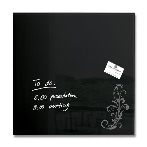 Sigel GL115 Glas-Magnetboard / Magnettafel artverum, schwarz mit floralem Ornament 48 x 48 cm - weitere Farben auswählbar Finden Sie Weitere Red Dot