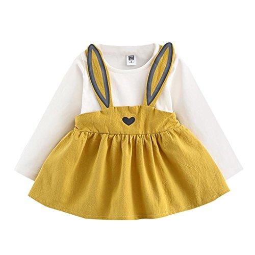 Mädchenkleider kinderkleidung Hirolan Babyoverall 0-3 Jahre Alt Herbst Baby Mädchen Niedlich Hase Bandage Anzug Kinder Kleinkind Mini Kleid (100CM, Gelb) (Blumen-rock Stück 2)