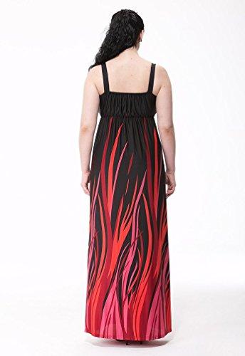MissFox Femme Robe Bohème Imprimée de Cocktail Longue Robe De Plage Grande Taille L-6XL Noir
