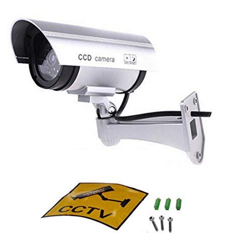 CatcherMy Simulationsüberwachung, Solarsimulationsüberwachung Simulationskamera Gefälschte Kamera mit Einem LED-Licht + Warnhinweis Aufkleber für Innen oder Außen