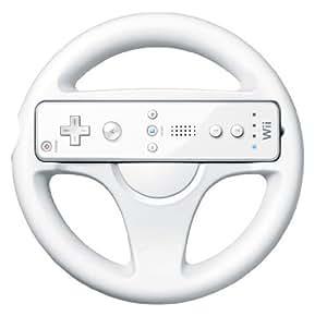 White Racing Steering Wheel for Nintendo Wii Mario Kart Game Round Remote UK