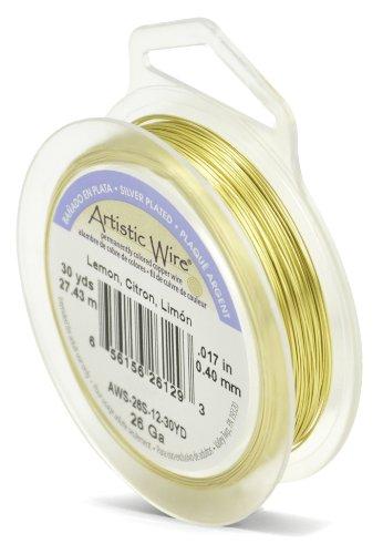 Artistic Wire Beadalon Fil de cuivre Calibre 26 27,43 m Câble plaqué argent/citron