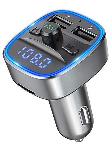 Bovon FM Transmitter Bluetooth Auto Radio Adapter Freisprechanlage [mit Blauem Umgebungslicht], Auto Ladegerät mit 2 USB Anschlüsse, Unterstützt TF Karte & USB-Stick für IOS & Android-Geräte (Grau)