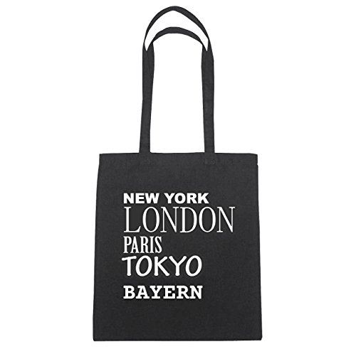 JOllify Bayern di cotone felpato b6040 schwarz: New York, London, Paris, Tokyo schwarz: New York, London, Paris, Tokyo