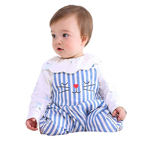 sunnymi  ® Kleinkind scherzt Baby Mädchen Streifen Karikatur Druck Overall Spielanzug Kleidungs Outfits
