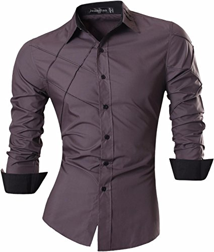Jeansian uomo camicie maniche lunghe moda men shirts slim fit causal long sleves fashion 2028 gray m