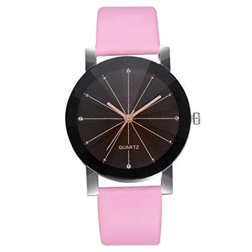Frauen Uhren, Sonnena Frauen Quarz Zifferblatt Uhr Lederarmband Uhren Rund Fall Quarz/Glas/Leder/Rund/präzise Zeit und Halten Gute Zeit (240mm*20mm, Gut Rosa♂️)