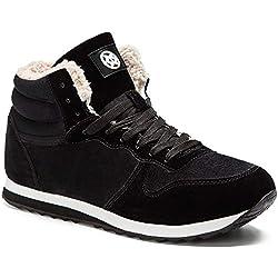 Gaatpot Zapatos Invierno Botas Forradas de Nieve Zapatillas Sneaker Botines Planas para Hombres Mujer Negro EU 35.5 = CN 36