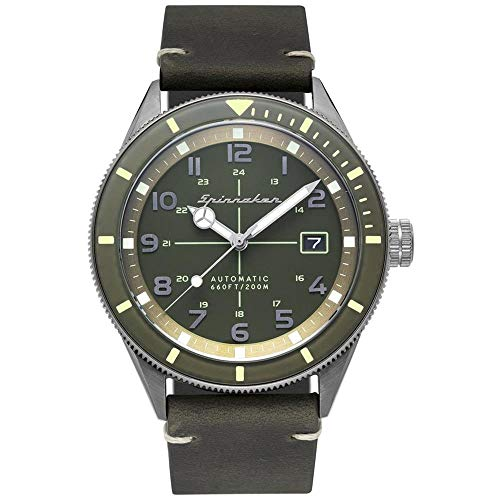 SPINNAKER Men's Cahill 43mm Green Leather Band Steel Case Sapphire Crystal Automatic Watch SP-5064-02
