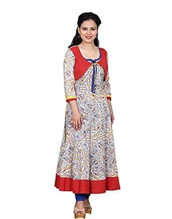 Chhipa Women Jacket Style White Kurta(1041_White_44)