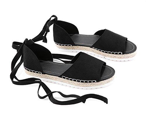 Lueyifs Damen Espadrille Ankle Strap Schnürschuh Wildleder Sandalen Peep Toe Riemchen Schuhe Ankle Strap Peep Toe Sandalen