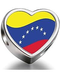 Bracelet Charm Bead Venezuela Flag Heart Sterling Silver Charm Beads Biagi beads European Charms Bracelets