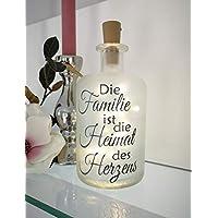 AScreativ Dekoflasche mit Beleuchtung -Familie Heimat des Herzens LED Leuchte Leuchtflasche Bottlelight Lichterkette Geschenk Flaschenlicht