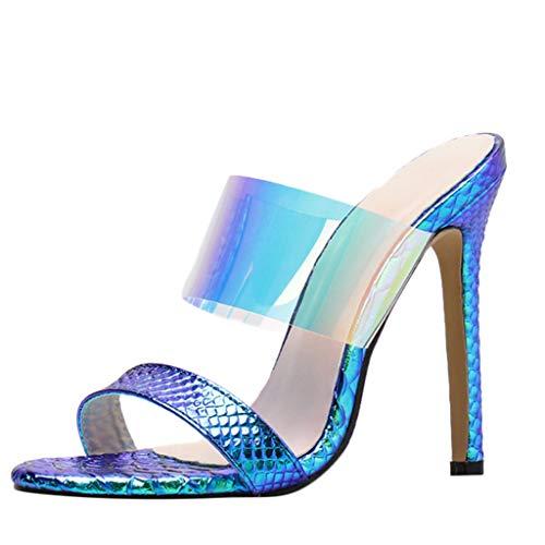 Sandali Estivi Donna con Tacco Sexy, LANSKRLSP Moda Donna Sandali Scarpe estive Partito Crystal Trasparente Hhigh Heel Pantofole Blu Argento