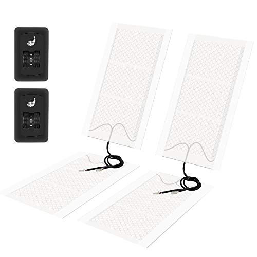 MVPower Auto Sitzheizung aus Carbon Fasern zum nachrüsten Sitzheizung Auflage mit 5 Stufen Schalter (4 Heizmatten)