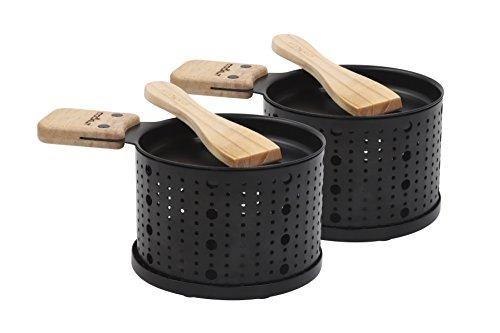 COOKUT - Lumi2 - Eine Raclette Kerze - Schmelzen Sie Ihren Käse in 3 Minuten - Am Tisch, vor dem Fernseher oder sogar Picknick - Holzspatel enthalten - Ohne Strom - Packung mit 2 Geräten