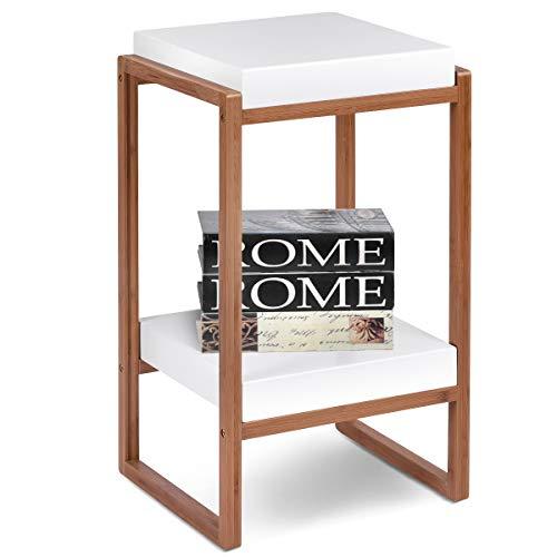COSTWAY Beistelltisch 2 Ebenen, Sofatisch quadratisch, Kaffeetisch weiß, Telefontisch Gestell aus Bambus, Nachttisch 34 x 30,5 x 60 cm