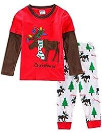 Amooy DiZi Boys Kids Dinosaur Shark Christmas Pajamas - Long Sleeve Shorts  100% Cotton Nightwear Children PJS Sleepwear Sets… c5dabb29c