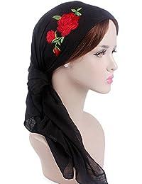 02698ee08ccfc Samidy Women Turbans Headwear Long Hair Head Scarf Head wraps Cancer Hats  Rose Embroidery (Black