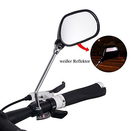 Universal Fahrradspiegel Rückspiegel für Fahrrad Motorrad E-Bike, 2 Stück Lenkspiegel Set mit weißen Reflektor, flexibel Reflektierende Spiegel, Verstellbar & Klemm-Montage