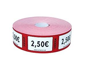 CARTALOTO - Rollo de 1000 Etiquetas Valor 2.00€ - Rojo, BITR2506, Multicolor