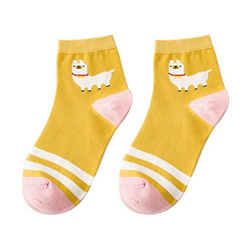 XdiseD9Xsmao Kawaii Cartoon Alpaka Streifenmuster Socken Strapazierfähige Atmungsaktive Schweißabsorbierende Baumwolle Elastische Mittelrohrsocken Für Frauen Mädchen Gelb -