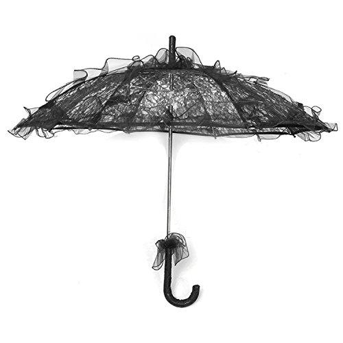 Kostüm Verkäufer Blumen - Sonnenschirm-Spitze - TOOGOO(R)Spitze-Regenschirm Fleur De Mariee Mariee Hochzeits-Spitze-Regenschirm Schwarz Regenschirm