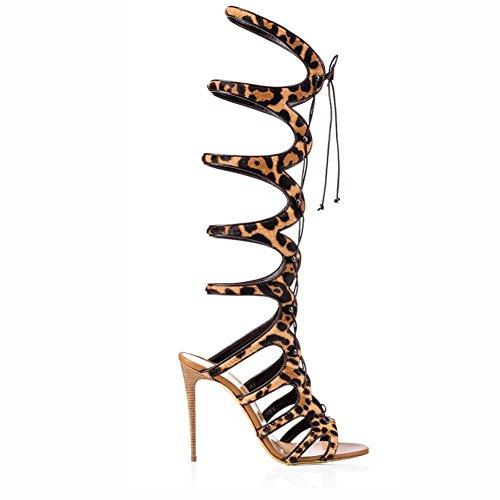 L@YC Scarpe Da Donna Similpelle Stivali Freddi Stivali Da Cavalcare Moda Stivali Quadrati Con al Ginocchio Toe Casual Party & Brown