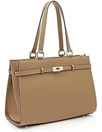 BOVARI sac à main Jackie - cuir de veau à imprimé saffiano - 37x27x16cm - coffee