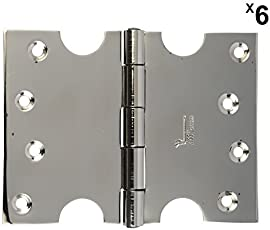 4 inch Door Hinges Stainless Steel Parliament C-Type Hinge (Glossy Silver Finish, Pack of 6, 75mm x 250CLCP) Wide Opening Door Hinges SSiSKCON Brand