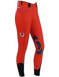 Kerbl Reithose Bali - Pantalones de hípica para niño, color rojo, talla 12 años (152 cm)
