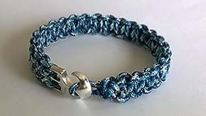 Paracorde 20,3cm Serpent Bleu 275Cobra point Bracelet/Bracelet avec ancre en métal fermeture. Fait à la main en Royaume-Uni Norfolk.