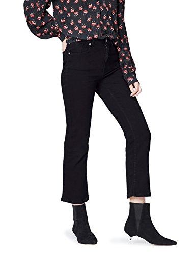 FIND Jeans Damen Kick Flare mit verkürztem, leicht ausgestelltem Bein, mittelhoher Bund, Schwarz (Washed Black), W28/L32 (Herstellergröße: S) (Jeans Flare Schwarz)
