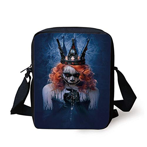 Queen,Queen of Death Scary Body Art Halloween Evil Face Bizarre Make Up Zombie,Navy Blue Orange Black Print Kids Crossbody Messenger Bag Purse