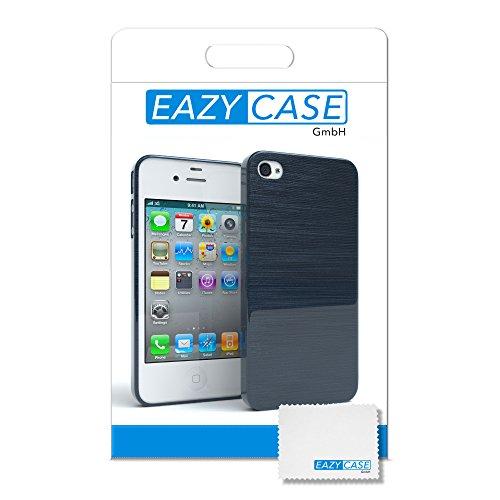 "EAZY CASE Handyhülle für Apple iPhone 4S, iPhone 4 Hülle - Premium Handy Schutzhülle Slimcover ""Clear"" - Transparentes Silikon Backcover in Klar / Durchsichtig Brushed Dunkelblau"