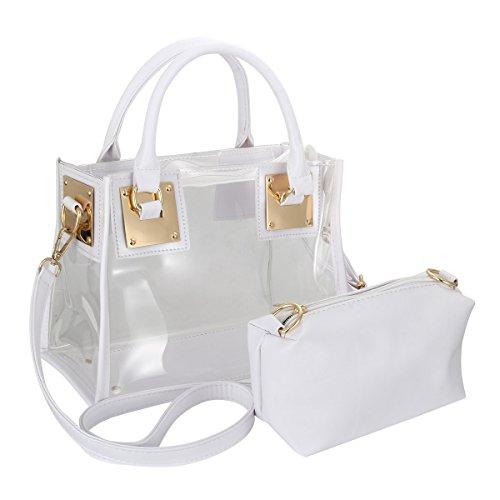 Chain Handle Bag (Leobtain Fashion Women Clear Transparent Handbag PVC Jelly Candy Beach Tote Ladie Shoulder Bag Top Handle Purse with Chain Cross Body Bag Set)