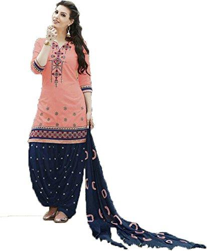 FKART Women's Cotton Embroidered Semi-stitched Salwar Suit (FK-3547ORANGE_Pink_Free Size)