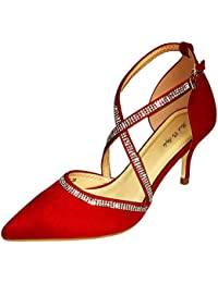 7e18290248a421 Rock on Styles Womens Ladies Diamante Faux Suede Party Evening Low Mid Heel  Court Shoes Size