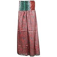 Mogul Interior Womens Fashion Skirts Pink Vintage Silk Sari Smocked Waist Maxi Skirt