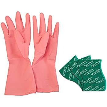 Scotch-Brite Kitchen Gloves Large (1 unit) & Scrub Pad Large (3 units)