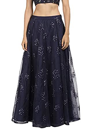 Indya Women's Satin Skirt Bottom (ISK00472_Blue_Small)