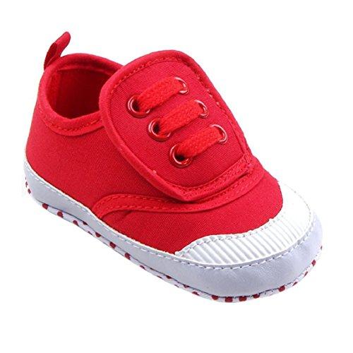 Rot Säugling Sneaker Krippe Canvas Sohle Baby Bzline® Schuhe Weiche z8gxwfPSSq