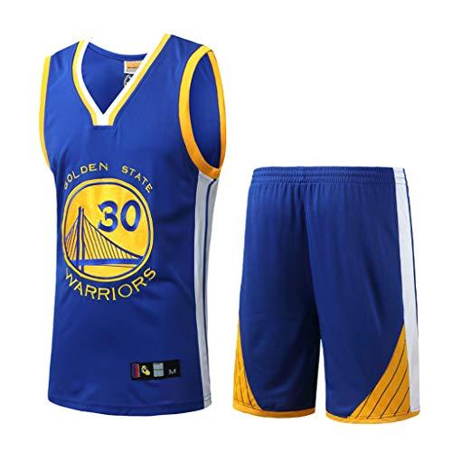 HANGESS Jungen Herren Basketball Trikots und Shorts Stephen Curry Nr.30 Warriors Sommer Basketball Swingman Jersey Ärmellose T-Shirts