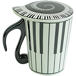 Taza de cerámica de la taza de café con leche músico bastones para notas musicales con tapa de Piano de la canción, cerámica, Style A