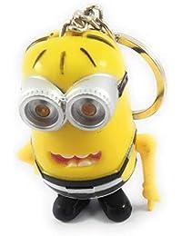 Key Era Disney Despicable Me Minion With Led Light & I Love U Sound Yellow Colour PVC Keychain & Keyring For Bikes...