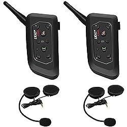 V6 Pro 1200m Intercom Moto Bluetooth,Casques Kit Moto Main Libre Ecouteur Bluetooth/Oreillette Anti Bruit Casque Communication Système Microphones,Connecter Jusqu'à 6 Riders,pour Moto,Vélo(2 Pack)