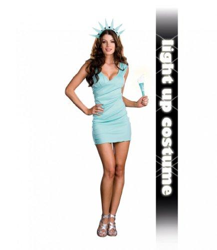 Kostüm Statue of Liberty Kleid türkis Freiheitsstatur Amerika Karneval (Kostüme Liberty Erwachsene Lady)