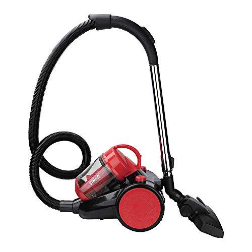 Hengda Aspirateur traîneau sans sac | Puissance maximale: 900 watts, volume du bac à poussière: 3 litres | Filtre hygiénique lavable aspirateur haute performance | Rouge