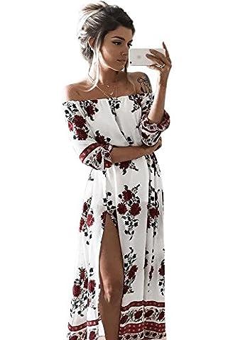 Miss Floral® Womens Off Shoulder Bandeau Floral Print Split Maxi Dress Size 6 - 16