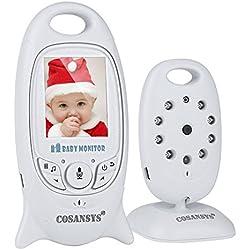 COSANSYS Babyphone mit Kamera,video babyphone, Wireless Video baby Monitor 2 Zoll LCD 2.4GHz Digital Baby Überwachung Digitalkamera mit Temperatursensor Schlaflieder Nachtsicht Gegensprechfunktion EU Plug (2.0 ZOll, weiß)
